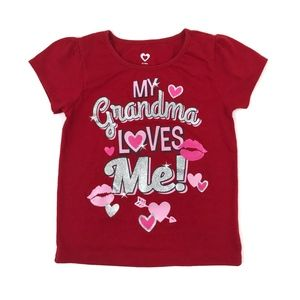 Other - Red 'My Gradma Loves Me!' Graphic Short Sleeve Tee